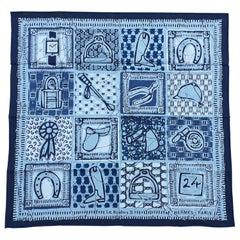 Hermès Cotton Scarf Carré Le Boubou H  Blue Grey Horse Pattern Texas 65 cm