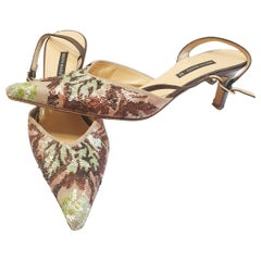 Beige heeled sandals with sequins by Bruno Magli
