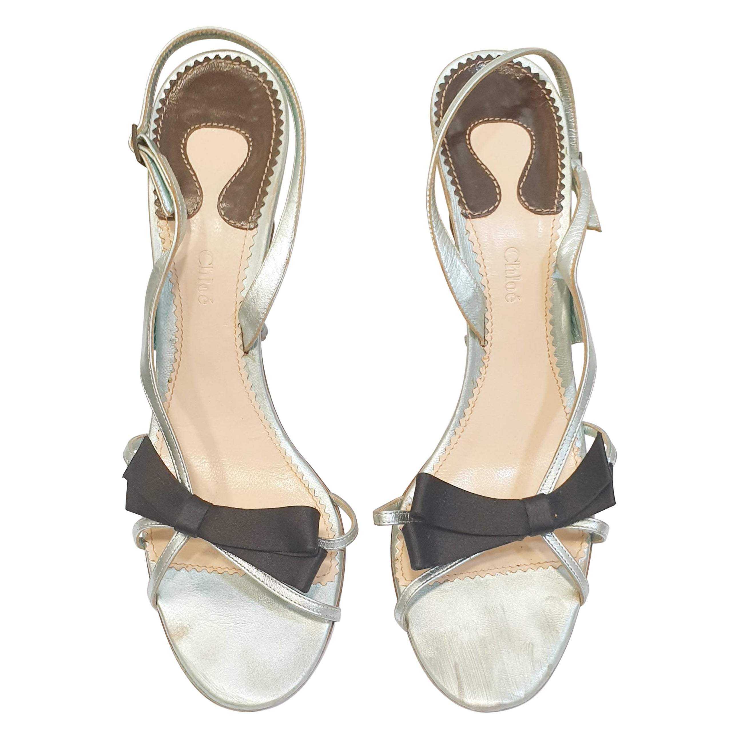 Light Blue metallic  heeled sandals with with black silk lace by Chloé