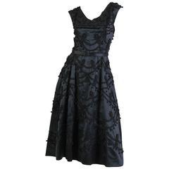 1950s Lavishly Embellished Satin Dress