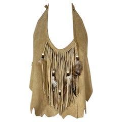 1970s Suede Leather Fringe Feather Tan Brown Boho Vintage 70s Halter Crop Top