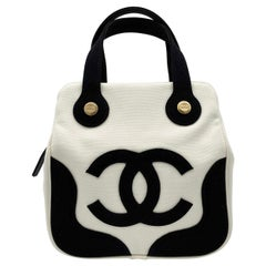 Chanel Black and White Canvas Marshmallow Bag