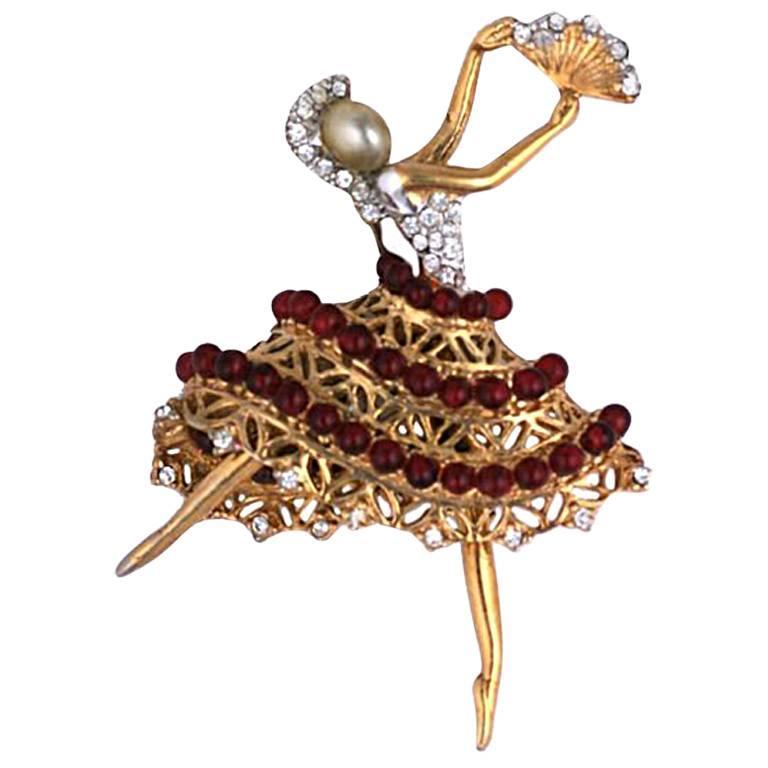 Coro Retro Style Ballerina Brooch, 1940s For Sale