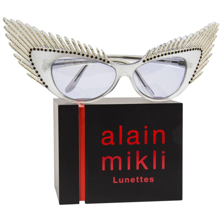 "Wearable Art, gorgeous wing-shaped Eye Frames, creating a ""plume effect"" specifically made for the 'Haute Couture' Shows, Paris; one of a kind, collector's item (belongs in a museum)…A piece of fashion history – unworn condition - actually"