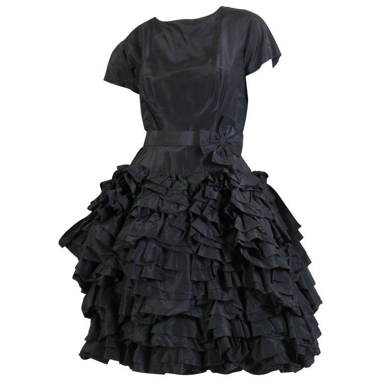 1950S Paula Whitney Black Haute Couture Silk Taffeta Amazing Ruffled Poof Ball 1 For Sale