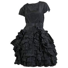 1950s Paul Whitney Silk Ruffled Dress