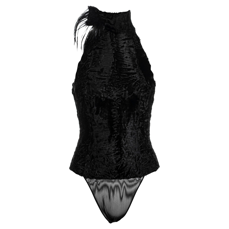 Gianfranco Ferre black astrakhan fur bodysuit, fw 1999