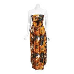 Vintage 1960's Helena Barbieri Beaded Marigold Floral Print Silk Strapless Gown
