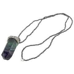 Long Faceted Multi-Colored Quartz Crystal and Hematite Drop Pendant Necklace