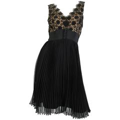 1960s Black Lace and Pleated Chiffon Cocktail Dress