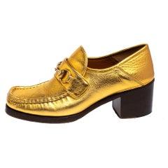 Gucci Gold Leather Horsebit Vegas Loafers Pumps Size 37