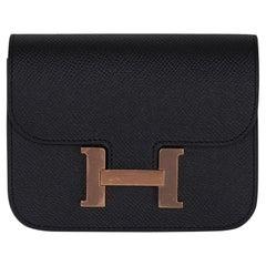Hermes Constance Slim Wallet Waist Belt Bag Black Rose Gold Hardware