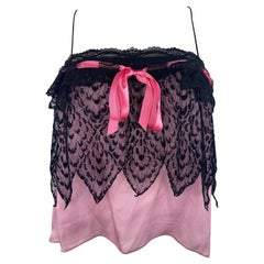 Yves Saint Laurent Rive Gauche Black and Pink Cami Tank Top, Size Small
