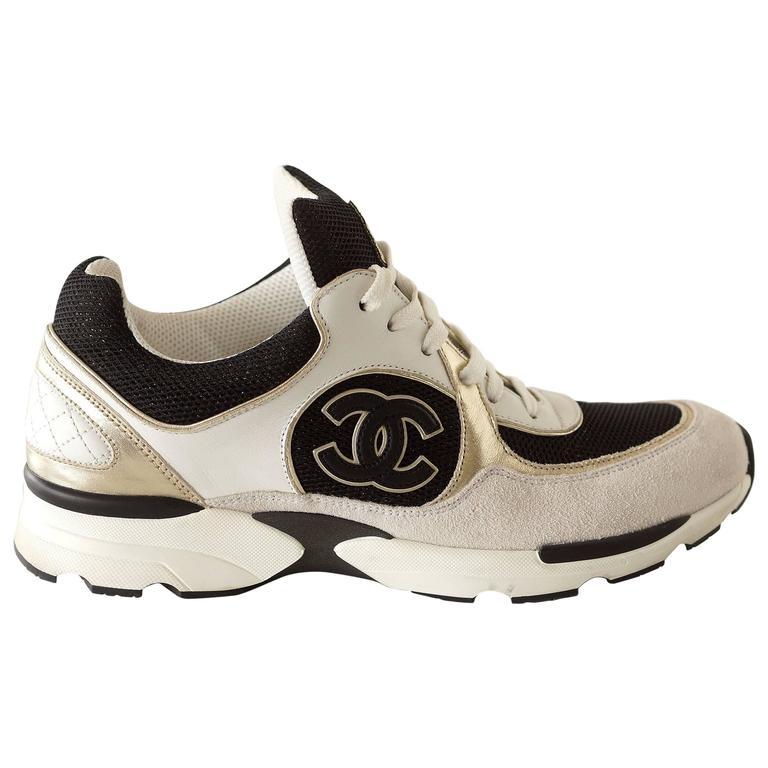 4d53b787a1a3 Chanel Sneaker Tennis Shoe White Metallic Black 39 5 9 At 1stdibs