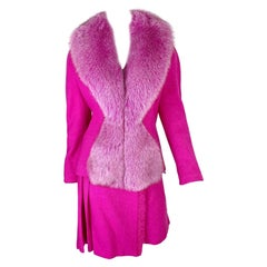Dior Fall 1998 RTW Hot Pink Tweed Suit with Fox Fur
