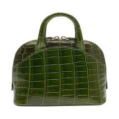 Giòsa Milano Olive Green Crocodile Mini Bag
