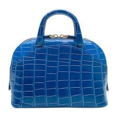 Giòsa Milano Bright Blue Crocodile Mini Bag