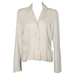 White leather single breasted jacket Christian Dior