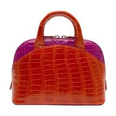 Giòsa Milano Red and Fuchsia Crocodile Mini Bag