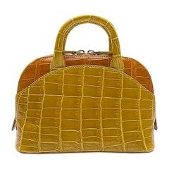 Giòsa Milano Yellow and Orange Crocodile Mini Bag