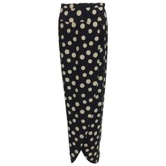 Valentino black & white dot silk petal hem wrap maxi skirt 1970s