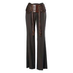 Black trouser with brown silk  fringes and Chinese belt Chloé