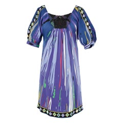 Multicolor printed dress with beaded work and embroidered Emilio Pucci