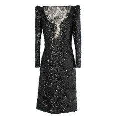 Black sequin and lace cocktail dress Galanos