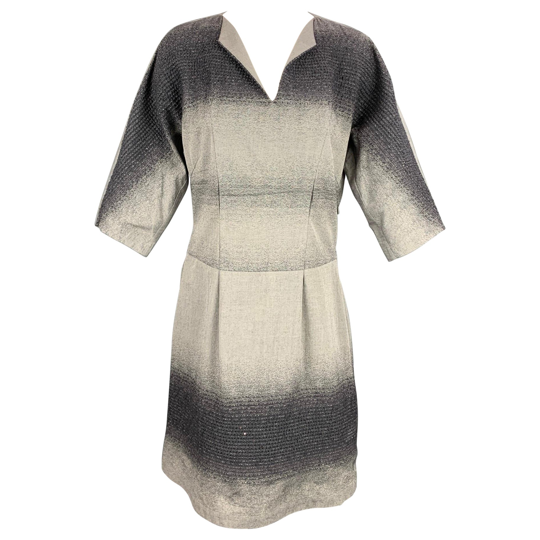 HEART HAAT by ISSEY MIYAKE Size M Grey & Charcoal Cotton Blend Ombre Dress