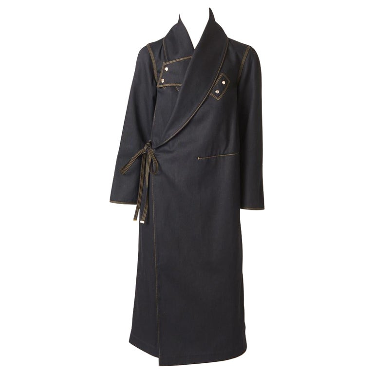 Ferragamo Black Denim Coat with Topstitching Detail For Sale