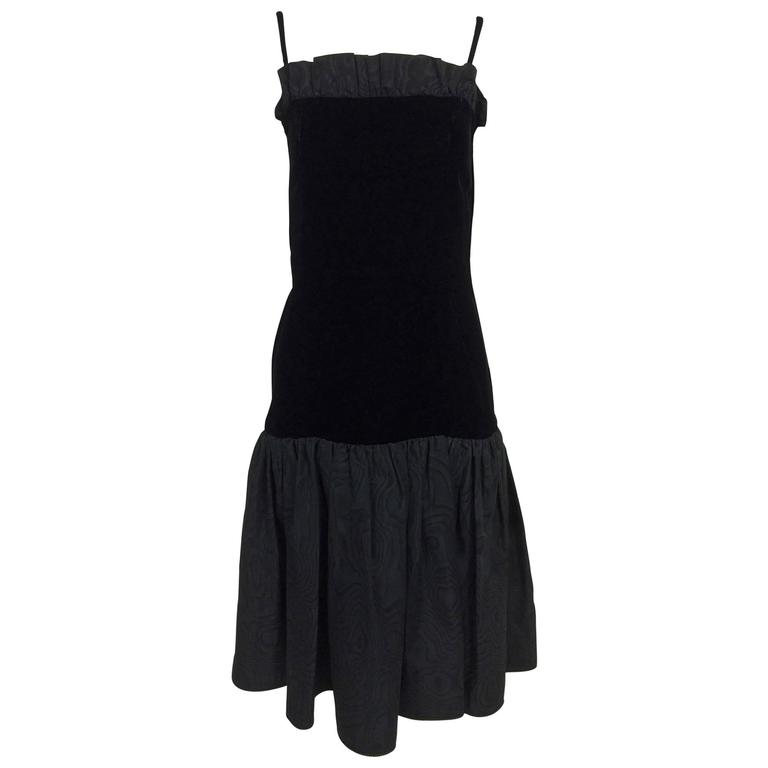 Yves St Laurent black velvet & taffeta fitted bodice flare hem cocktail dress