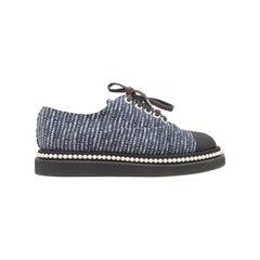 Chanel Navy & Black Tweed & Faux Pearl Sneakers