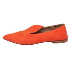 Hermes Orange Suede Logo Embroidered Pointed Toe Smoking Slippers Size 41