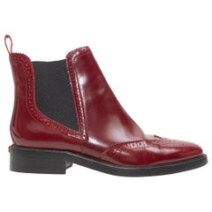Burberry Maroon Brogue Ankle Boots