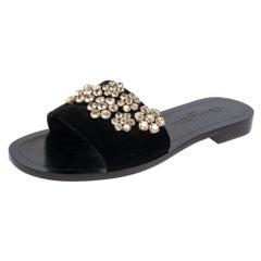 Dior Black Velvet Crystal Embellishment Flat Sandals Size 37.5