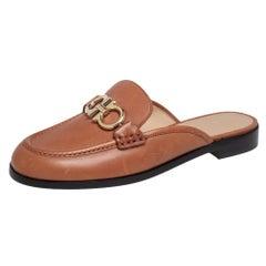 Salvatore Ferragamo Brown Leather Viggio Flat Mules Size 37.5