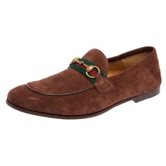Gucci Brown Suede Web Slip On Loafers Size 41.5