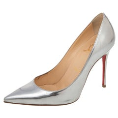 Christian Louboutin Silver Leather Pigalle Follies Pointed Pumps Size 36