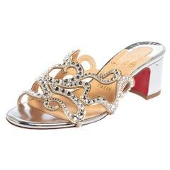 Christian Louboutin Silver Octostrass Crystal Embellished Slide Sandals Size 37