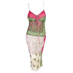 Dior Spring 2004 RTW Patchwork Print Silk Dress