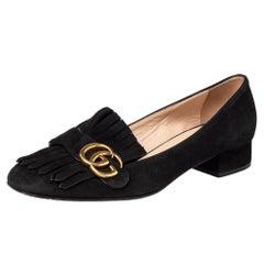Gucci Black Suede GG Marmont Block Heel Pumps Size 39.5