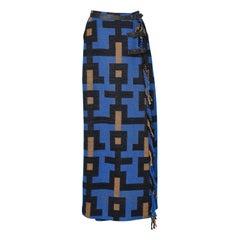 Long kilt skirt in wool with graphic pattern Jean Charles de Castelbajac