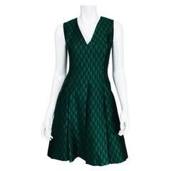 Jonathan Saunders Black & Green Diamond V Neck Dress