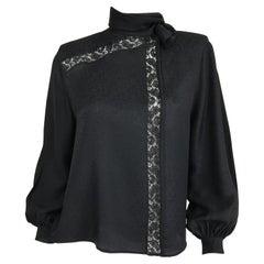 Valentino Vintage Black Silk Jacquard Tie Neck Blouse