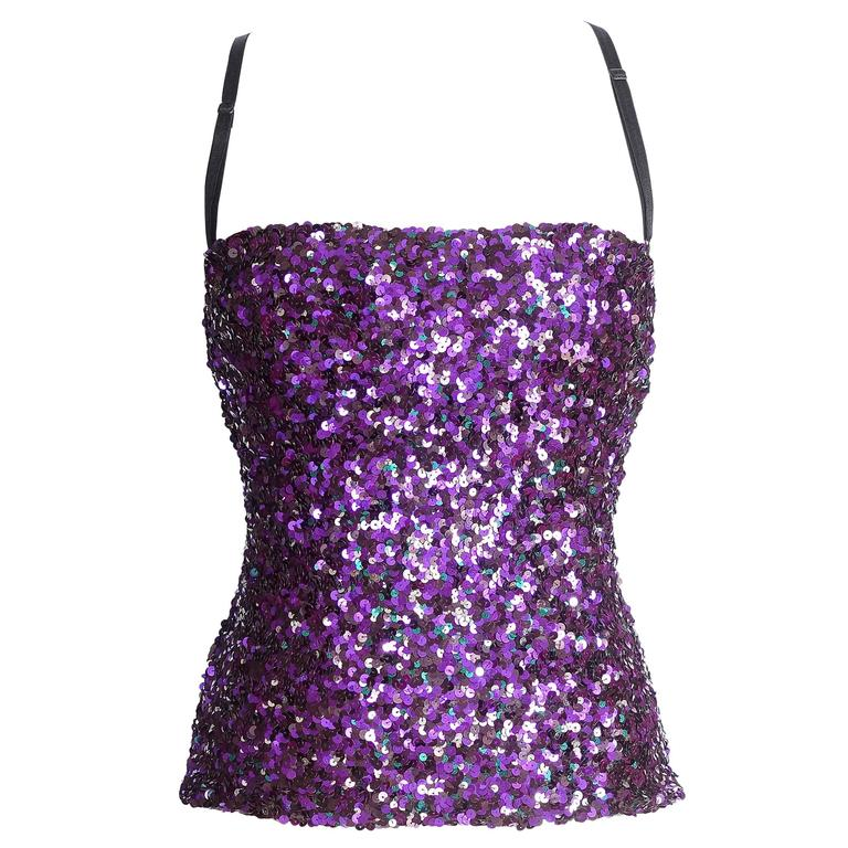DOLCE&GABBANA top sequin encrusted jewel colours bustier 40 / 6  mint 1