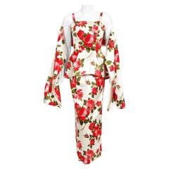Vintage 1960's Mr. Blackwell Velvet Roses Flocked Satin Hourglass Gown w/ Shawl
