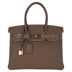 Hermes Birkin 30 Bag Etoupe (Taupe) Gold Hardware Togo Leather