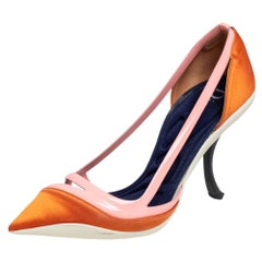 Dior Two Tone Patent Leather And Satin Pointed Toe Curved Heel Pumps Size 37.5