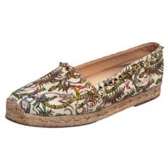 Christian Louboutin Ivory  Canvas Ares Spiked Espadrilles Flats Size 37
