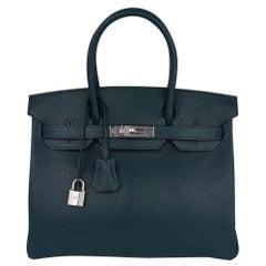 Hermes Birkin 30 Bag Vert Cypress Chevre de Coromandel Palladium Hardware New